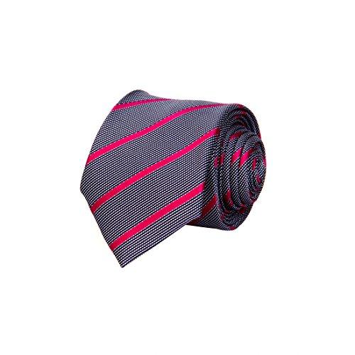 Tossido Woven Grey Striped Micro Fiber Skinny Necktie