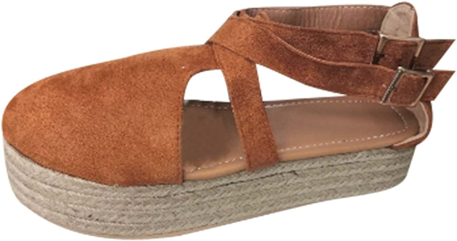 oiangi Espadrille Wedge Sandals for Women,Fashion Round Toe Closed Toe Side Empty Baotou Hollow Double Buckle Platform Sandals,Summer Casual Outdoor Shoes