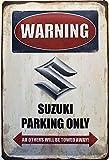 Deko7 Blechschild 30 x 20 cm Warning Suzuki Parking Only