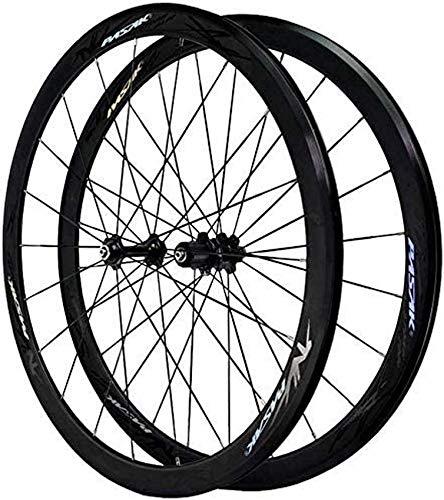 Bicicleta de carretera Bicicleta de carretera 700C, juego de ruedas de bicicleta de carretera Freno en V Rueda de aleación de doble pared Llanta de bicicleta BMX de 40 mm Liberación rápida para 7 8 9