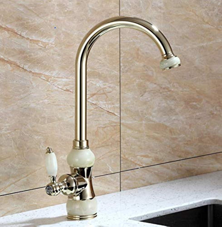 Dwthh Küchenarmaturen Marmor Mixer Kitchen Crane Einhand Gold Swivel 360 Grad Wasser Mischbatterie Küchenarmatur Waschbecken