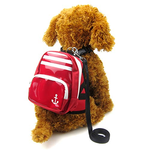 Alfie Pet - Oliga Backpack Harness with Leash Set - Color: Red, Size: Medium