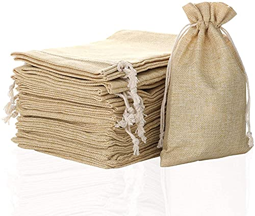 """FLAIRYLAND 5"""" x 8"""" Burlap Bags with Jute Drawstring for Holiday Party Birthday Wedding Gift Jewelry Treat DIY Craft…"""