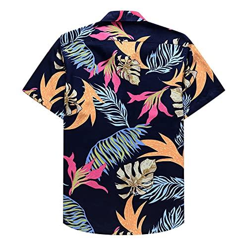 Camisa de verano 2021, camisa hawaiana de manga corta para hombre, corte regular, estampado, camisa de verano, camisa de lino, camisa para el tiempo libre Henley, azul, XL