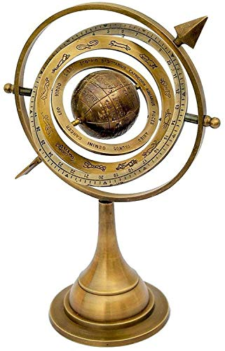 Arch Instrument 11' Antique Brass Armillary Sphere with Sundial Arrow Nautical Maritime Astrolabe Engraved Globe