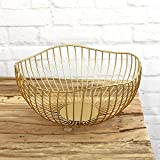 MACOSA Deko-Schale Dekokorb Metall Gold Moderne Design-Schale Metall -Korb Aufbewahrungskorb Küchenkorb Drahtkorb Gemüsekorb Obstkorb Obst-Schale - 4