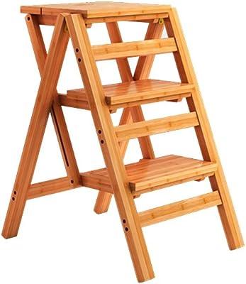 踏み台 折りたたみスツール、竹スツールポータブル小さなベンチ屋外はしご (色 : 木の色)