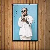 zhuifengshaonian Mac Miller Rap Hip Hop música Estrella Cantante Arte Pintura Lienzo póster Pared decoración del hogar Obra de Arte(ZE-875) Sin Marco Poster 40x60cm