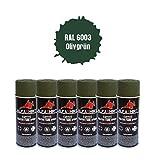 RAL 6003 NVA DDR 25395 - Juego de 6 botes de pintura en espray, color verde oliva y verde manzana