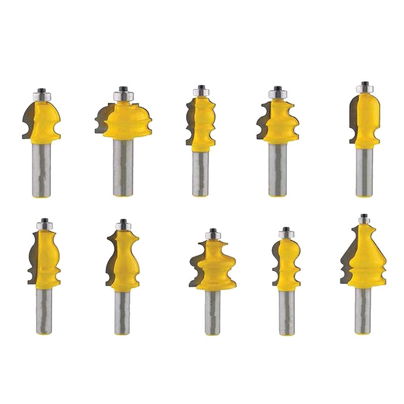 アコードできないかわいらしいB Blesiya 10個 木工チゼルカッター 1/2インチ シャンクレール&スタイル ルータビットセット 硬質合金