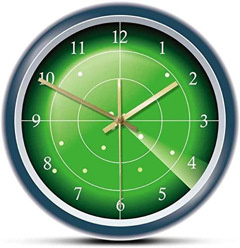 Reloj de Pared de diseñador de Radar Verde Militar, Pantalla Plana con Objetivo, Arte de Pared, escaneo de avión, decoración de tráfico aéreo, Reloj de Pared, 30 x 30 cm