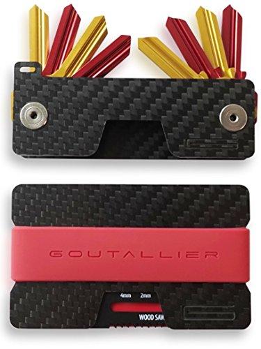 -NEU GOUTALLIER ® Carbon Kreditkartenetui + Schlüsselorganizer im Set - Slim-Wallet + 3 Bänder mit passendem Key-Holder