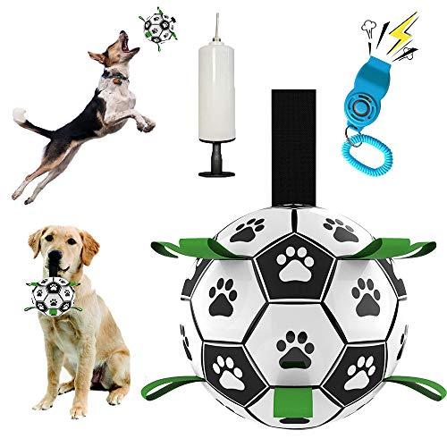 Dog Soccer Ball with Grab Tabs, Interactive Dog Toys for Tug of War, Dog...
