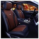 GSHWJS Cojín de cuatro estaciones de la funda del asiento del automóvil compatible con la funda del asiento de la bolsa de aire delantera y trasera 5 asientos de cuero de lino universal completo cubie