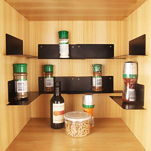 BasicForm Stackable Spice Rack Organizer, Strips/Screws 2 Installation Options, Metal Shelves for Kitchen Cabinet, Create More Space & Easy to Find Spices (8 Pack Black)
