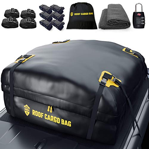 Car Top Carrier Roof Bag | 15 or 20 Cubic ft + Protective Mat - for Cars with or Without Racks