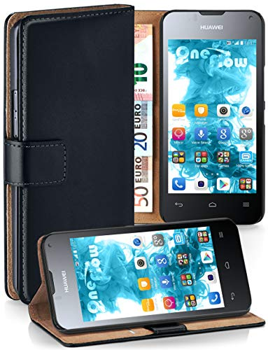 MoEx Cover a Libretto Compatibile con Huawei Ascend Y300 | Fessura Carta + Soldi, Supporto, Nero
