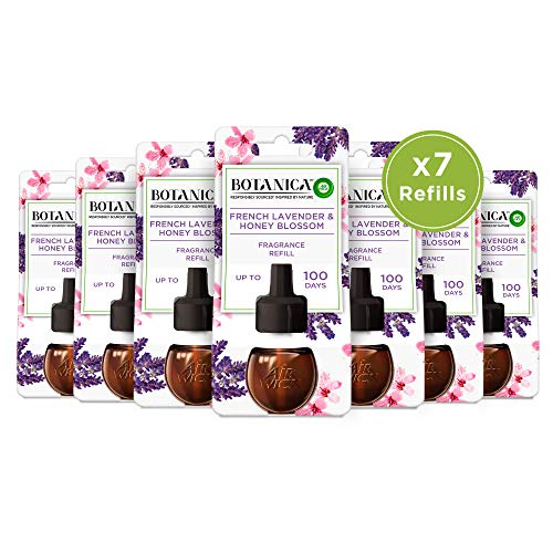 Botanica by Air Wick Scented Oil for Electrical Plug Diffuser French Lavender and Honey Blossom Refill x7, 19 ml