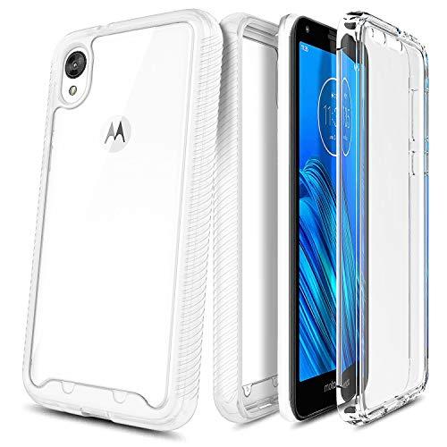 E-Began Schutzhülle für Motorola Moto E6, vollständiger Schutz, robuste Stoßfängerabdeckung mit eingebautem Bildschirmschutz, durchsichtige Rückseite, stoßfest, langlebig, matt