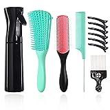 Juego de 10 brochas para el cabello, incluye 1 cepillo para desenredar el cabello, 1 botella de spray para rizar, 1 cepillo de peinado de 9 filas, 1 peine, 1 peine de metal y 5 clips para el pelo