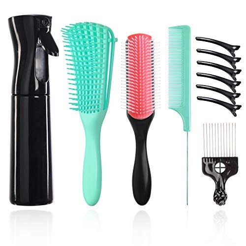 10teiliges Haarbürstenset, einschließlich 1Entwirrungsbürste ,Haarbürsten,1Sprühflaschen(300ML),1teiliger 9reihiger Styling-Haarbürste,1teiliger Kamm,1teiliger Metall-Pick-Kamm,5teiliger Haarspangen