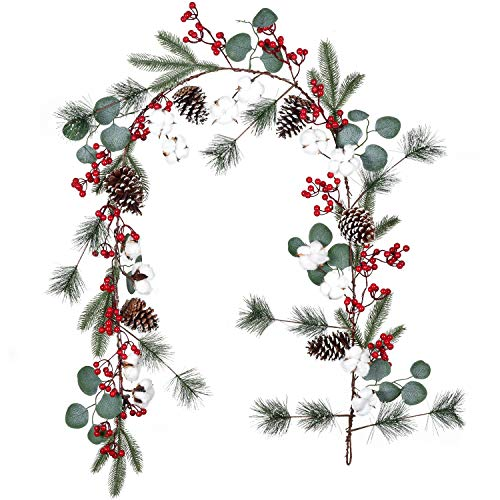 Artiflr 6FT Pine Christmas Garland with Berries Pinecones Spruce Eucalyptus Leaves Cotton Balls Winter Greenery Garland, Artificail Berry Garland for Holiday Fireplace Table Runner Centerpiece Decor