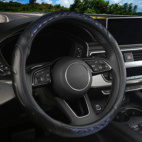 Microfiber Leather Car Steering Wheel Cover with Grip Contours, Universal 15 Inch Breathable Anti-Slip Auto Steering Wheel Protector (Black-Blue)