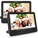 WONNIE 10.5'' Car Dual DVD Player Portable Kids Headrest CD Players, Two Mounting Brackets Built-in 5 Hours Rechargeable...
