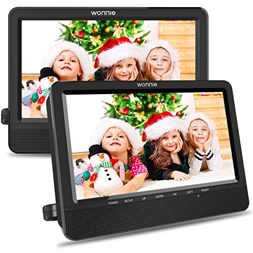 WONNIE 10.5'' Car Dual DVD Player Portable Kids Headrest CD Players, Two Mounting Brackets Built-in 5 Hours Rechargeable Battery Great for Family Travel (1 Player+1 Monitor)