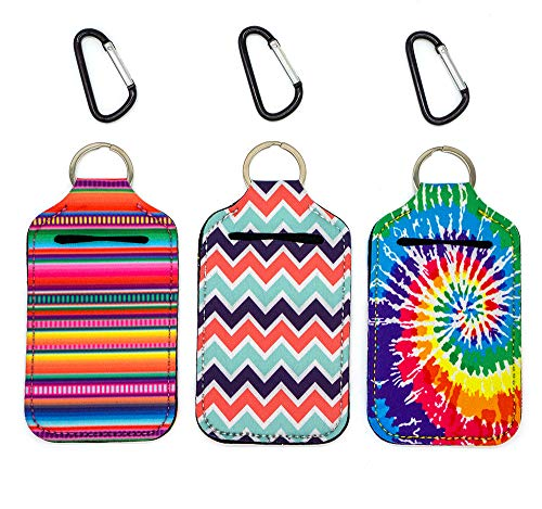 Party Girl Kim Hand Sanitizer Holder - 2 oz Travel Size Hand Sanitizer Keychain Holder, Attaches Easily to Your Purse, Backpack or Diaper Bag With Key Ring Carabiner Clip (Serape Tie Dye)