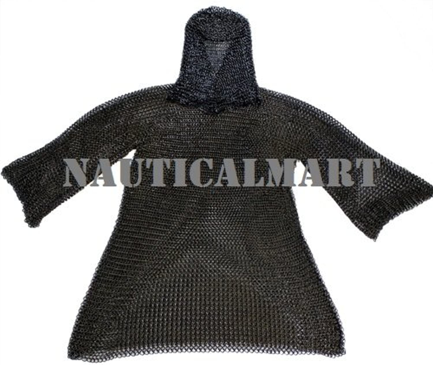 NAUTICALMART Black Medieval Chainmail with Coif
