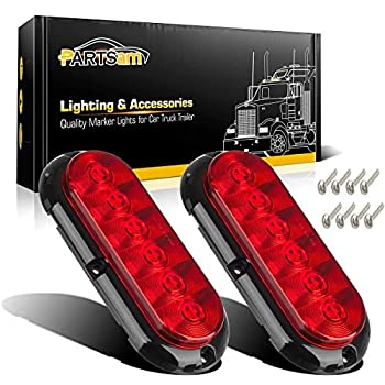 Partsam 2PCS Trailer Truck Boat Bus Red LED 6  Inch Oval Stop Turn Tail Brake Light DOT Certified Marker Lights Sealed Surface Mount 12V Waterproof IP65 Replacement for Trailer RV Trucks