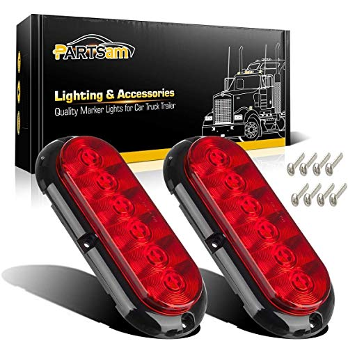 Partsam 2PCS Trailer Truck Boat Bus Red LED 6' Inch Oval Stop Turn Tail Brake Light DOT Certified Marker Lights Sealed Surface Mount 12V Waterproof IP65 Replacement for Jeep RV Trucks