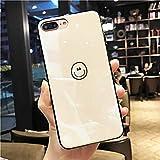 鏡面 スマイル iPhoneケース シンプル tpu おしゃれ ワンポイント iPhone ケース カバー (iPhone7/8, ホワイト)