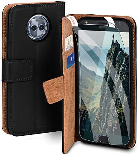 moex Handyhülle für Motorola Moto X4 - Hülle mit Kartenfach, Geldfach & Ständer, Klapphülle, PU Leder Book Hülle & Schutzfolie - Schwarz