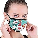 Huyotop Máscara reutilizable lavable de 6.8 x 4.7 pulgadas para hombre y mujer, resistente al polvo, ajustable, antipolvo, antigripe, feliz Navidad con Papá Noel y muñeco de nieve y perro