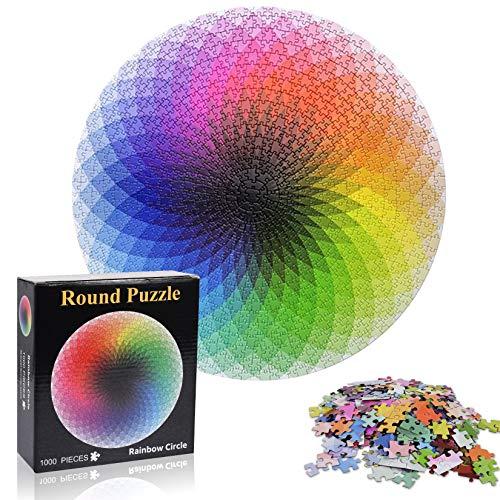 Puzzle Redondo 1000 Piezas,Resplandor Degradado Rompecabezas,Puzzle Difícil y desafiante, Grande Educativo El Alivio del Estrés Juguete Relajante Juego Divertido para Adultos Niños(Arco Iris)