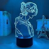 Lámpara de Ilusión 3D Luz de Noche LED Anime Attack Titan 4 Eren Yeager Figura Shingeki No Kyojin Lámpara de Mesa USB Creativa para Decoración de Dormitorio Regalo de Cumpleaños para Niños