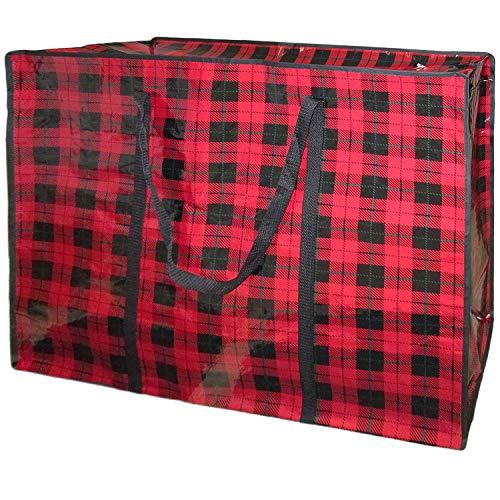 ビッグバッグ 大きい 大容量 超特大 ボストンバッグ 収納 軽い サイズ アウトドア チェック柄 猫 (チェック レッド)