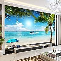 RTYUIHN 3D壁紙壁画ビーチ海の景色広いベッドルームのリビングルームモダンな壁アートの装飾-粘着性のPVC壁紙
