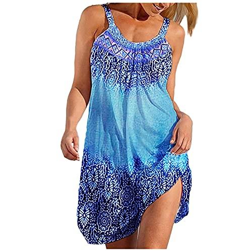 SmallYin Damen Sommerkleid Lose Casual Kleid Rundkragen Strandkleid Kleider MiniKleid,Ärmelloses Sommer Strandkleid Damen Kurzer Rock Casual...