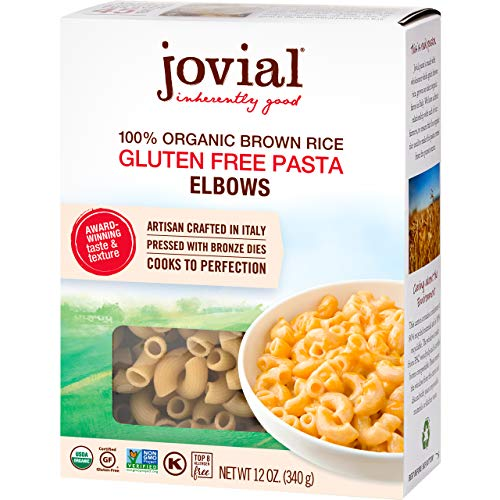 Jovial Elbows Gluten-Free Pasta | Whole Grain Brown Rice Elbows Pasta | Non-GMO | Lower Carb | Kosher | USDA Certified Organic | Made in Italy | 12 oz (4 Pack)