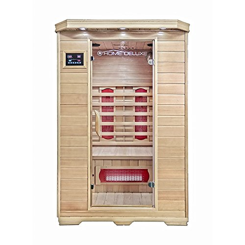 Home Deluxe – Infrarotkabine Redsun M - Keramikstrahler, Hemlocktanne, Maße: 120 x 105 x 190 cm | Infrarotsauna für 2 Personen, Sauna, Infrarot, Kabine