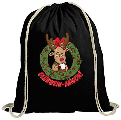Shirt Happenz Rentier Glühwein Saison Premium Turnbeutel | Rudolph | Weihnachten | Christmas | Unisex | Gymbag, Farbe:Schwarz (Gymbeutel);Größe:37cm x 46 cm