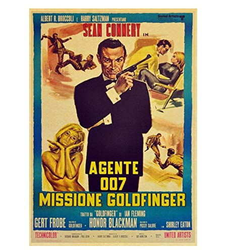 PCWDEDIAN Vintage James Bond Filmplakat 007 Retro Leinwand Wandplakat Für Zuhause/Raum/Bar Gemälde Wanddekoration F140 42X30Cm