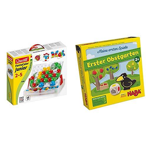 Quercetti 4190 Fanta Color Junior 48 ab 2 Jahre Steckspiel & Haba 4655 - Meine ersten Spiele Erster Obstgarten, unterhaltsames Brettspiel rund um Farben und Formen, Holzspielzeug und Lernspiel