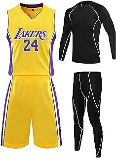 ZXPYN Jersey Men Sports Jersey Lakers #24 Kobe Bryant Entrenamiento de Baloncesto Manga Corta para Hombres Tops para fan/áticos del Baloncesto Purple S