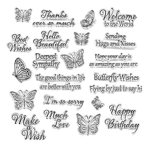 Words Clear Stamp Silicone Stamp Cards with Sentiments,Flowers,Butterfly ,Greeting Words Pattern for Holiday Card Making Decoration and DIY Scrapbooking Album DIY Crafts