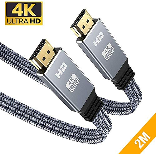 4K@60Hz HDMI Kabel 2Meter, Snowkids 4K Flach HDMI 2.0 Kabel Highspeed 18Gbps HDCP 2.2 Nylon Geflochten Kompatibel mit Video 4K, UHD 2160p,HD 1080p, 3D, ARC,LG,SONY,X-box One,PS3/PS4-Grau