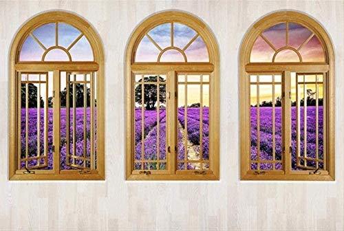 Fototapete Holzfenster Lila Lavendelfeld 3D Tapeten Wandbilder für Wohnzimmer und Schlafzimmer Wanddekor Bild Riesenplakat-200cmx140cm(LxH)